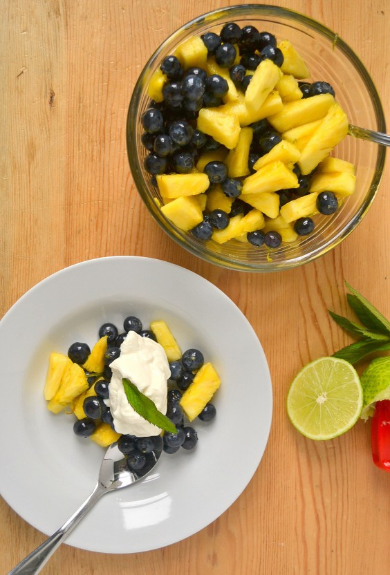 pineapple and blueberry fruit salad
