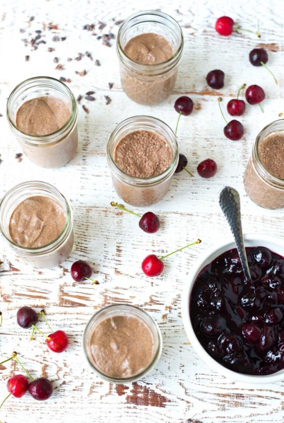 cherries jubilee chocolate chia seed pudding