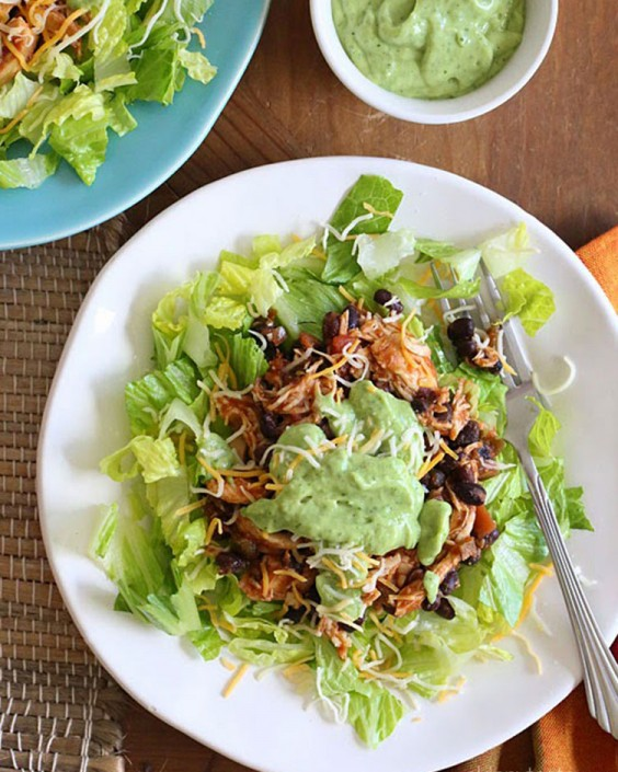 Easy Crockpot Chicken and Black Bean Taco Salad
