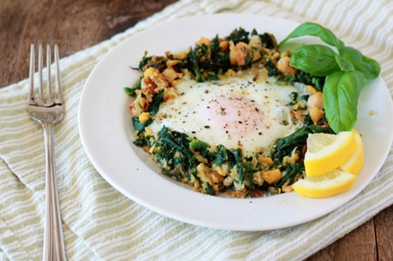 Lemony Nest Chickpeas with Egg