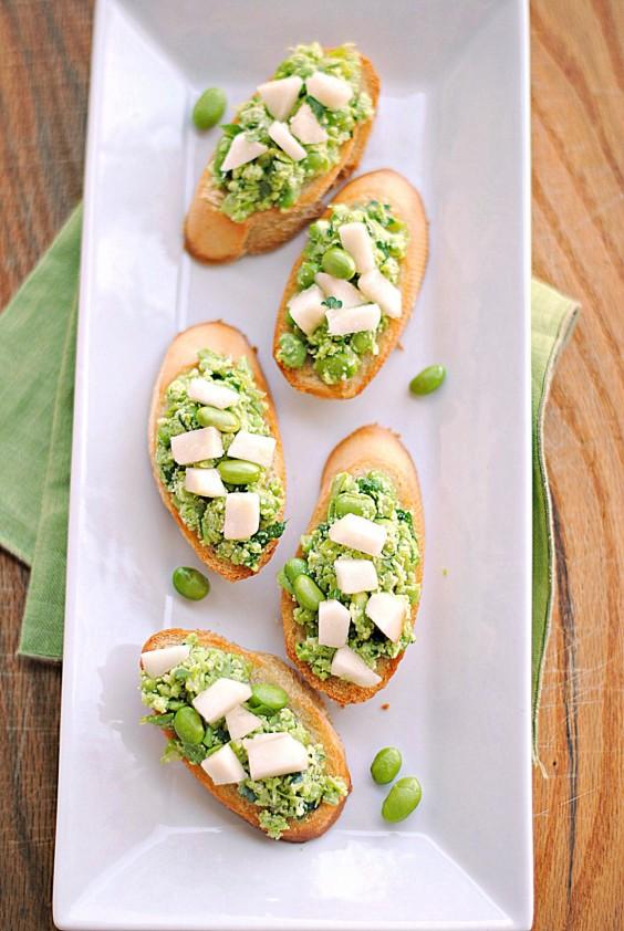 16. Edamame Crostini With Pears