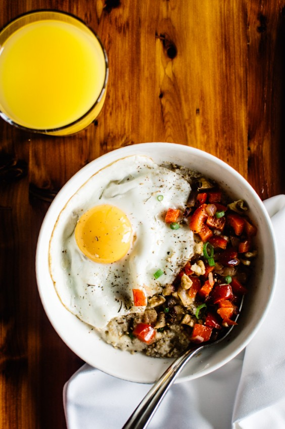 17. Savory Oatmeal With Cheddar and Fried Egg