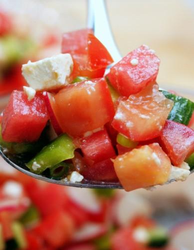 Chopped Vegetable, Watermelon, and Feta Salad