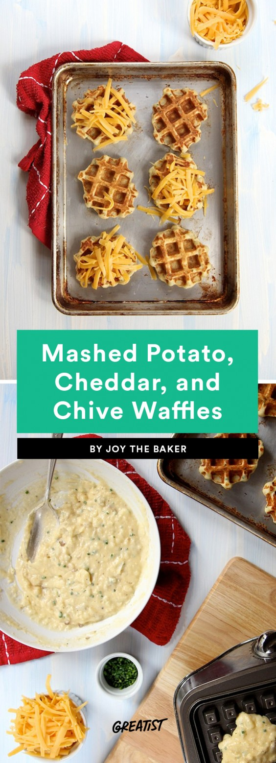 Mashed Potato, Cheddar, and Chive Waffles