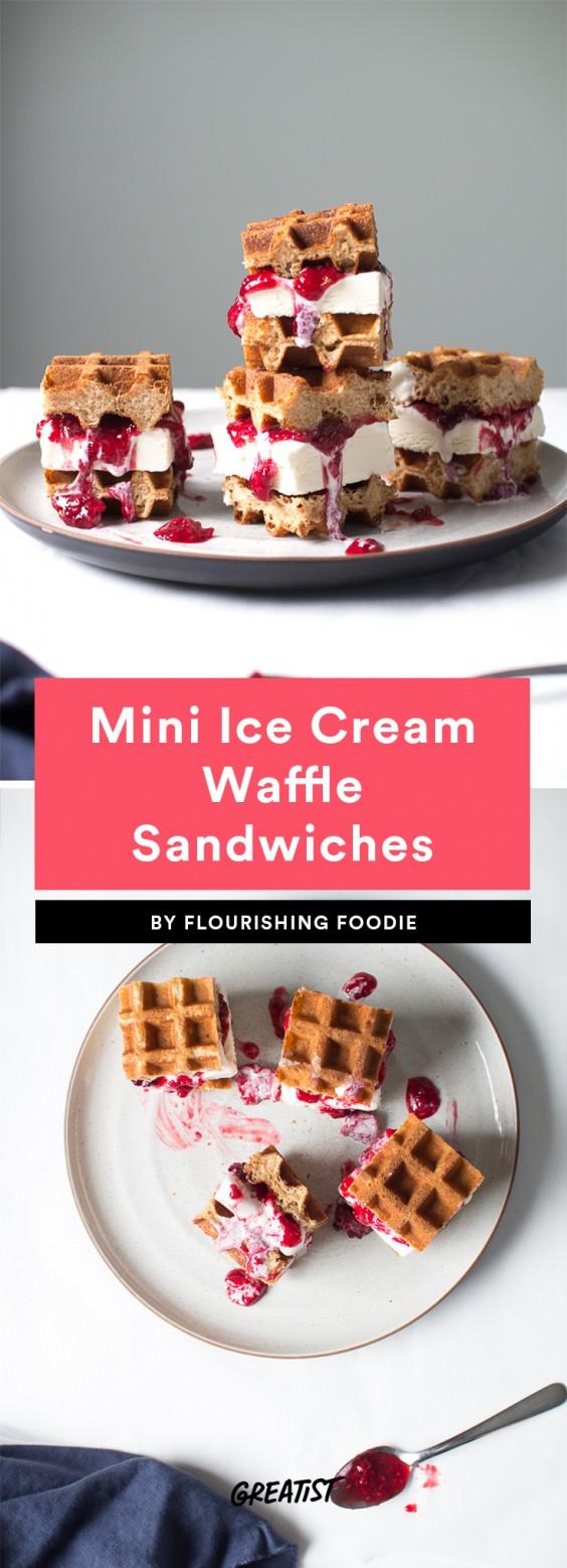 Mini Ice Cream Waffle Sandwiches