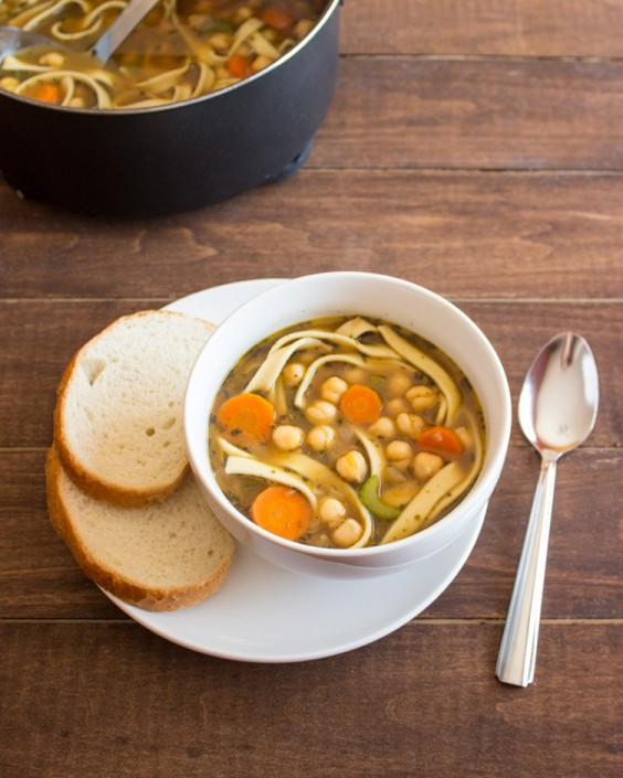 Healthy Dinner Recipes for Beginners: Easy Chickpea Noodle Soup by Handful of Raspberries