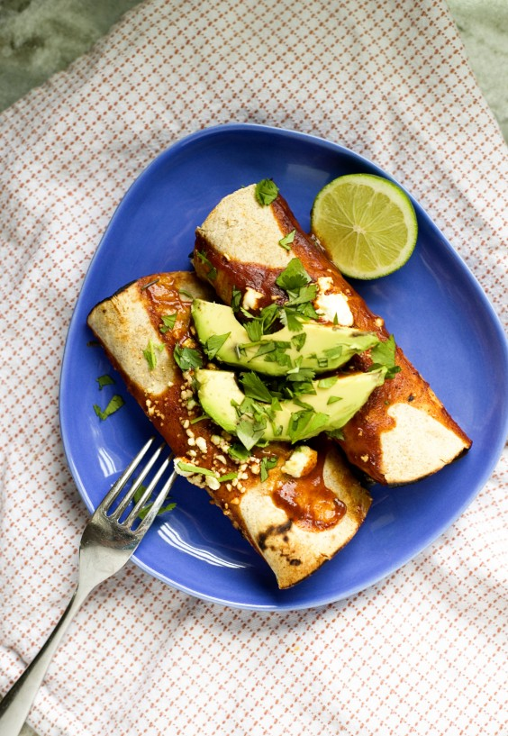 Roasted Zucchini, Black Bean, and Goat Cheese Enchiladas