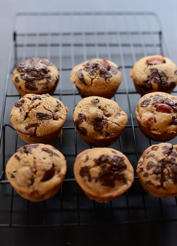 19. Vegan Cherry Dark Chocolate Chip Muffins