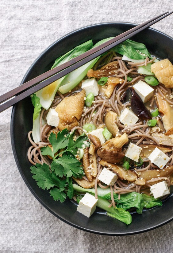 Sad veg: Bok Choy and Mushroom Soba Noodle Bowl
