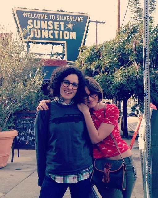 The author, Kilby, and her wife, Lindsay, in Los Angeles