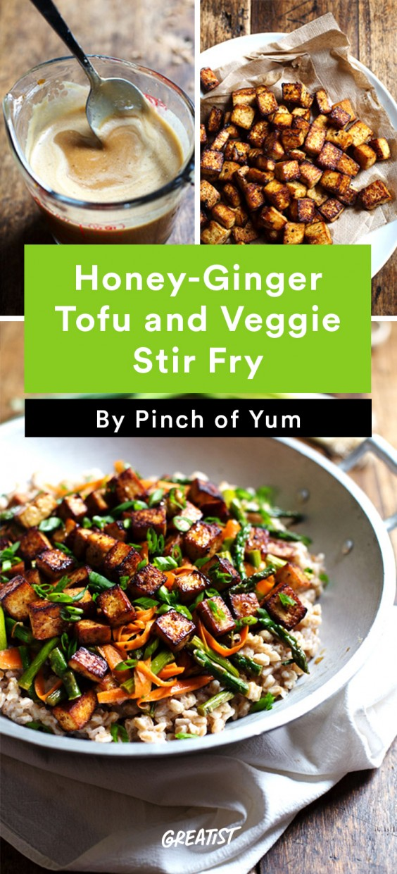 Honey Ginger and Tofu Veggie Stir Fry