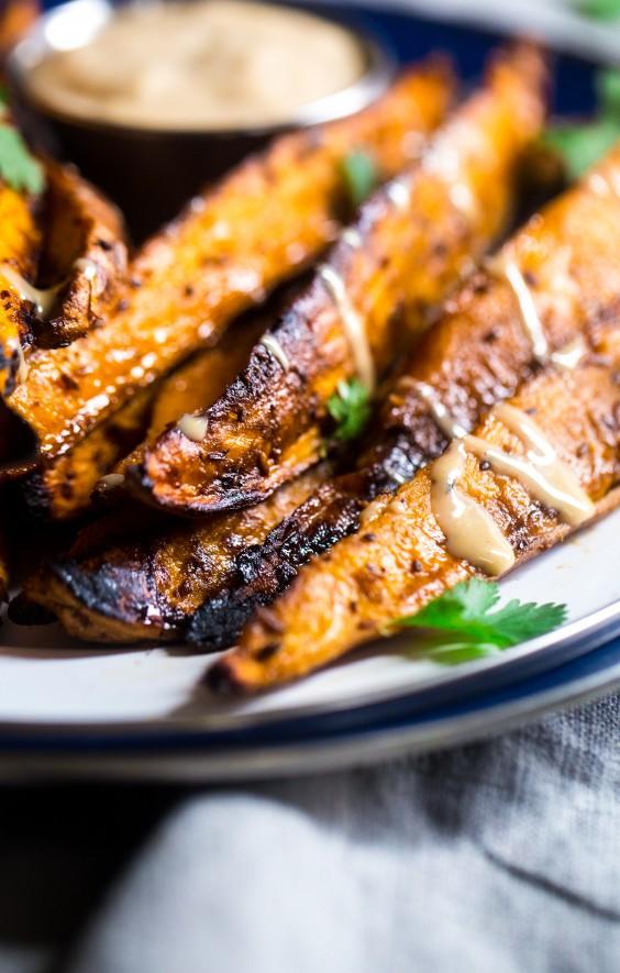 Maple Tahini Grilled Sweet Potatoes