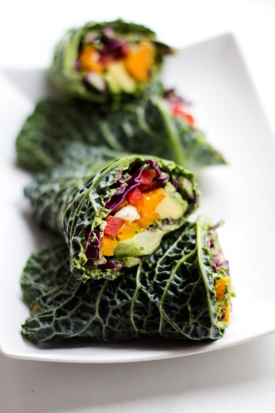 Lunch Ideas: Raw Veggie Wraps with Arugula Pesto