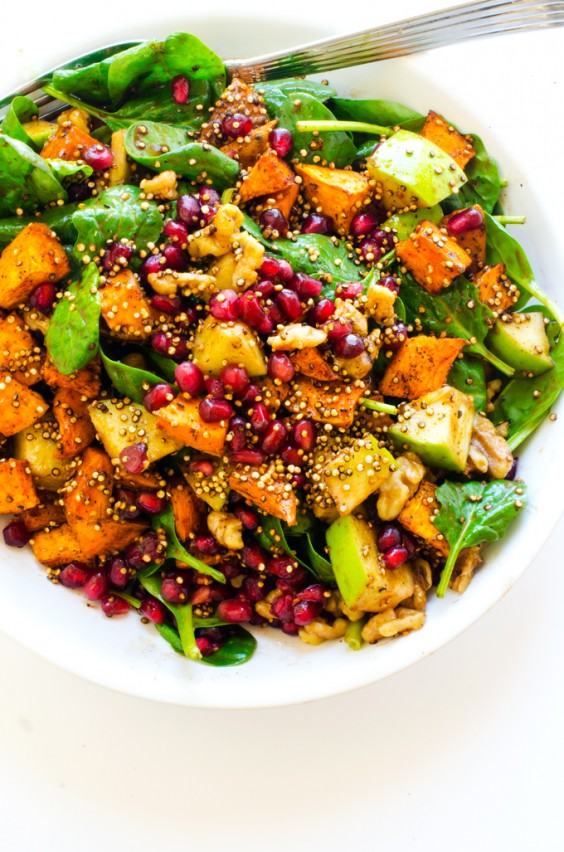 Sweet Potato Pomegranate And Crispy Quinoa Salad