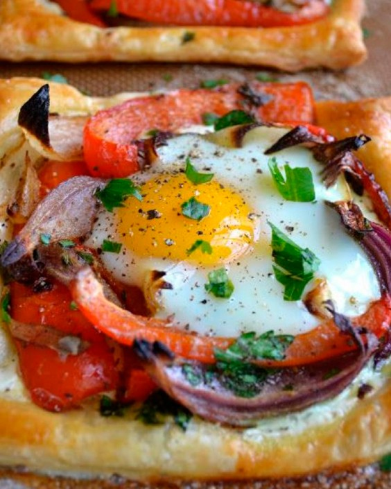 Baked Eggs Recipes: Red Pepper and Baked Egg Galettes by The View from Great Island