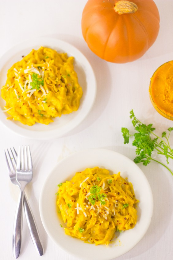 Creamy Pumpkin Alfredo Penne Pasta