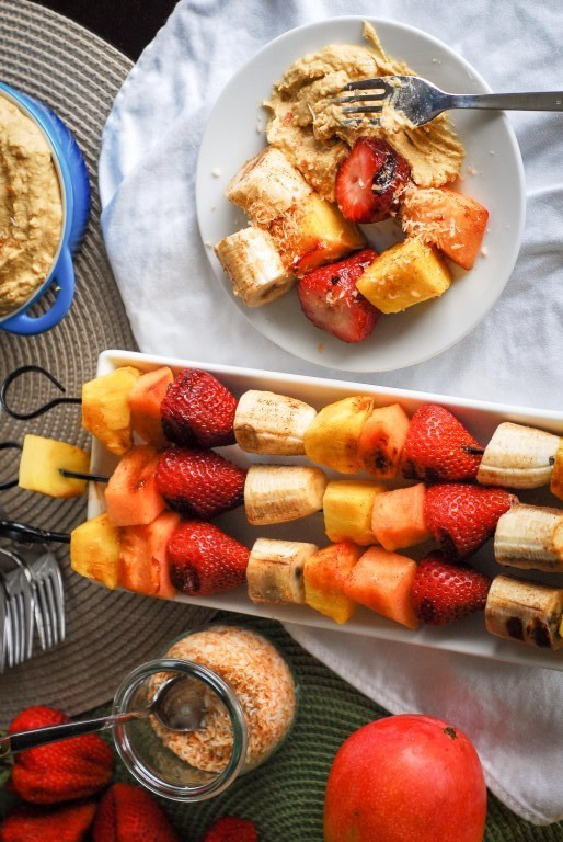 Grilled Fruit Kabobs With Mango-Coconut Ricotta Dip