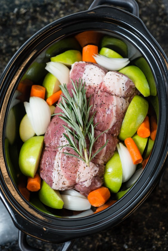 24. Slow Cooker Pork Roast with Apples, Carrots and Rosemary