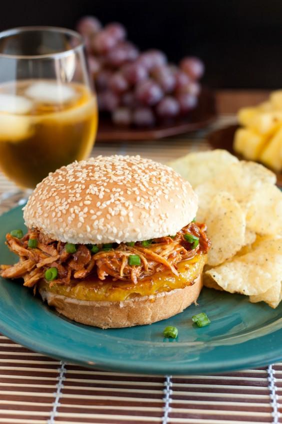 Hawaiian BBQ Pulled Chicken Sandwiches