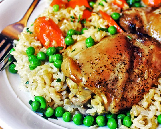 Healthy Dinner Recipes for Beginners: One-Pan Baked Chicken and Brown Rice Casserole by Dinner Then Dessert