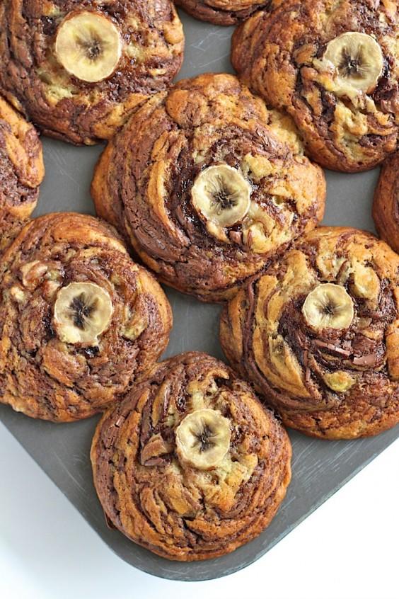 24. Nutella Swirled Banana Muffins