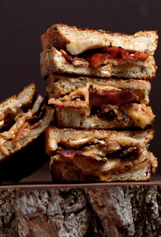 peanut butter bacon and banana sandwich