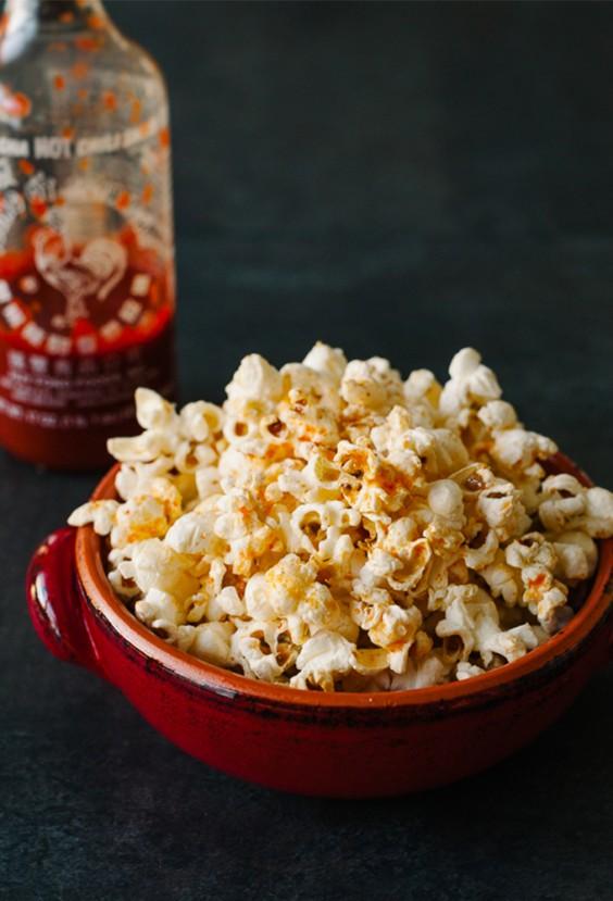25. Spicy Sriracha Popcorn