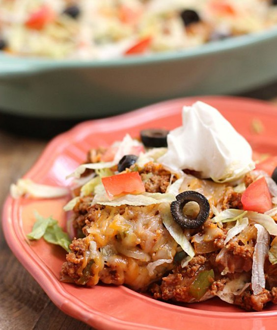 Healthy Dinner Recipes for Beginners: 20-Minute Taco Salad Casserole by Six Sisters Stuff
