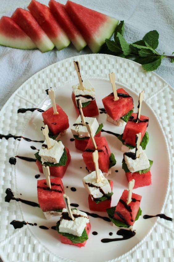 watermelon feta mint skewers