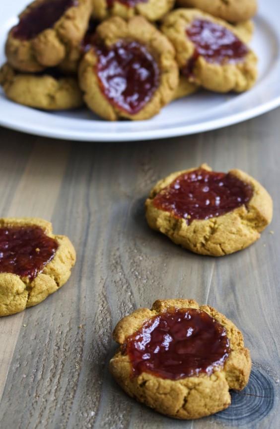 paleo ginger jam thumbprint cookies