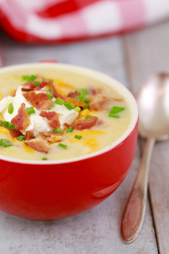 potato soup in a mug