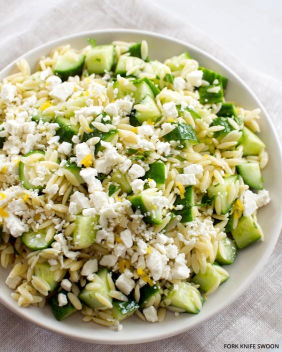 Lemony Orzo Pasta Salad With Cucumber and Feta
