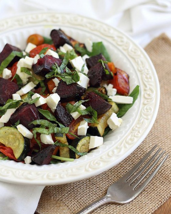 Healthy Dinner Recipes for Beginners: Simple Summer Roasted Vegetable Salad by Running to the Kitchen