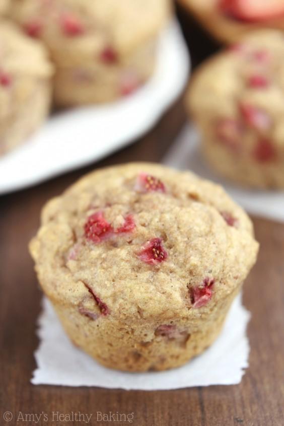 2. Whole-Wheat Strawberry Banana Muffins