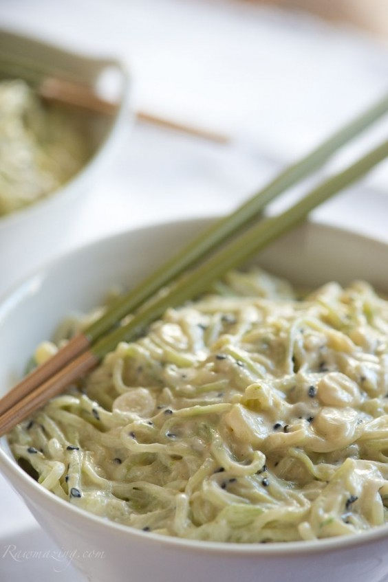 Cucumber Noodles with Coconut Lime Cumin Dressing