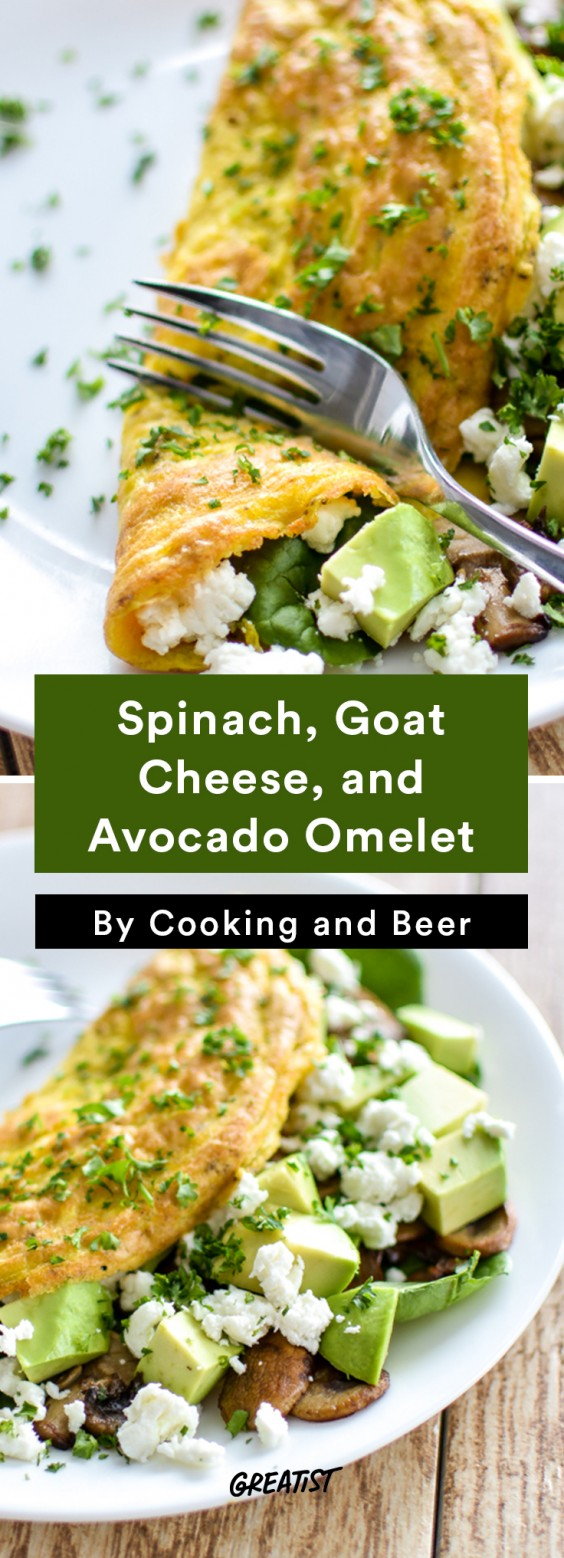 Breakfast for Dinner Recipes: Spinach, Goat Cheese, and Avocado Omelet