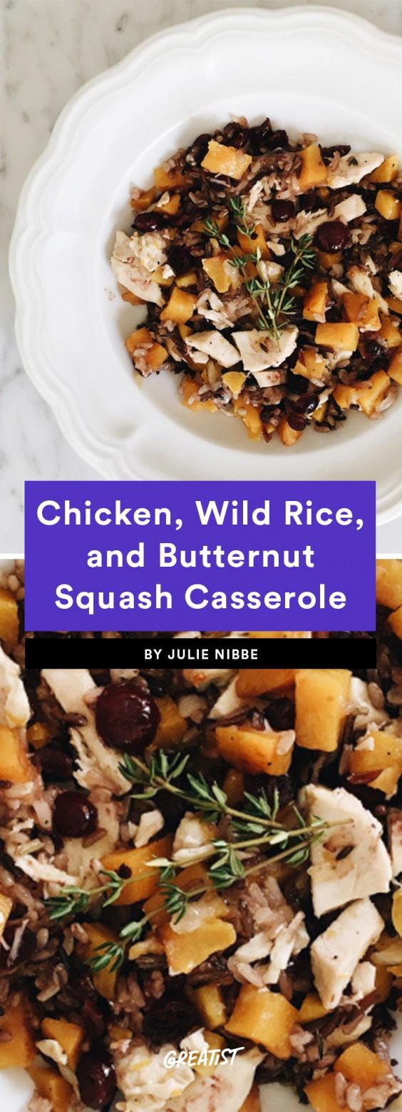 Chicken, Wild Rice, and Butternut Squash Casserole