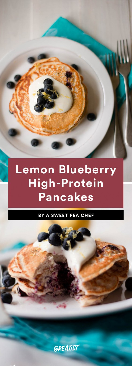 Lemon Blueberry High-Protein Pancakes