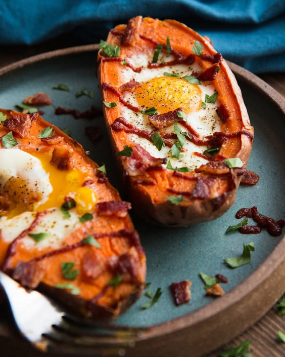 Baked Eggs Recipes: Baked Sweet Potato and Egg Breakfast Boats by Will Cook for Friends