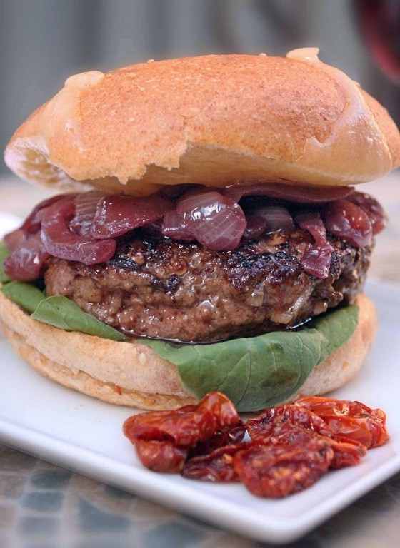 Bison Burger With Slow-Roasted Tomatoes