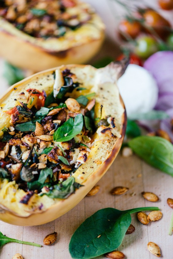 Spinach, Tomato, and Goat Cheese Stuffed Spaghetti Squash