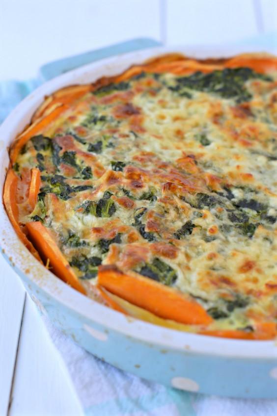 Sweet Potato Crusted Spinach Quiche