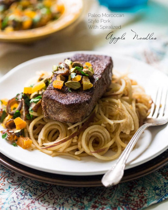 Moroccan Style Paleo Pork Chops With Apple Noodles