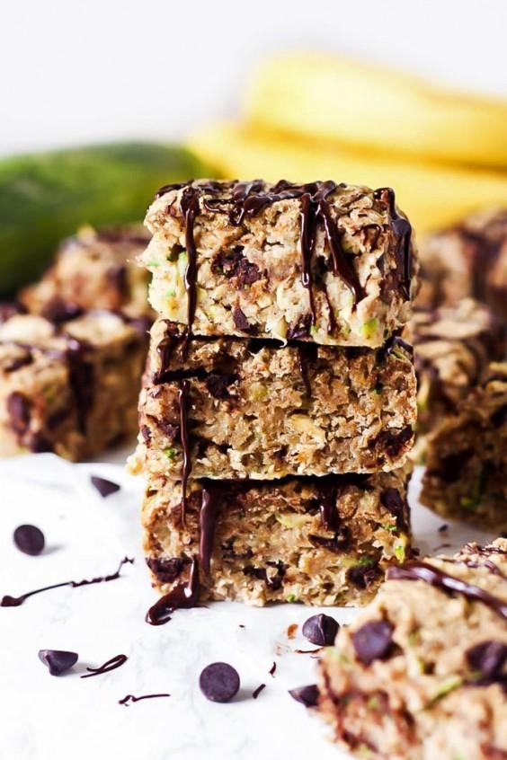 Chocolate Chip Zucchini Banana Breakfast Bars