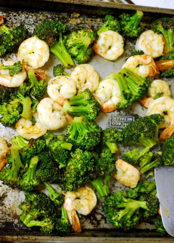 One Pot Meals: Roasted Broccoli with Shrimp