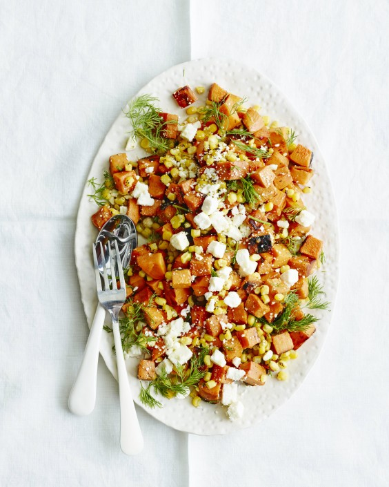 Healthy Dinner Recipes for Beginners: Sweet Potato, Corn, and Feta Salad by What's Gaby Cooking