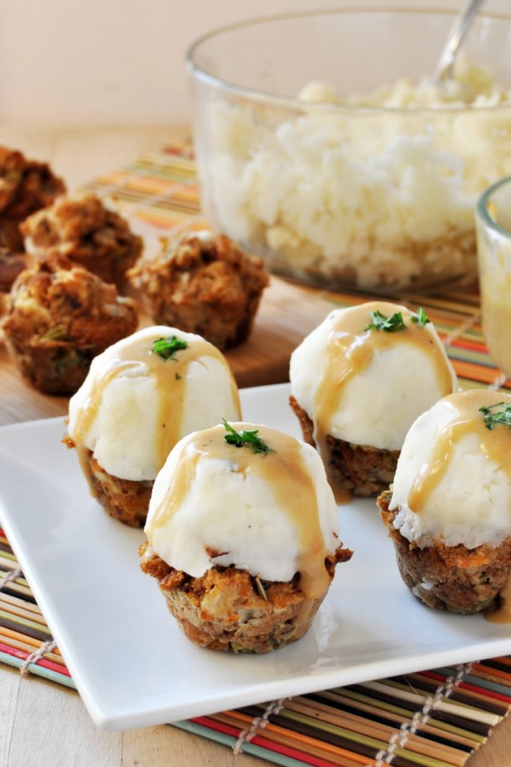 32. Vegan Stuffing Muffins Topped With Mashed Potatoes and Gravy