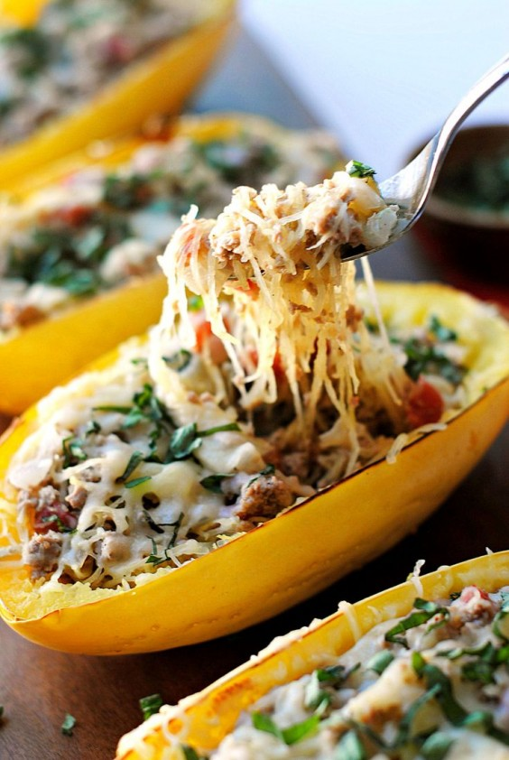 Spaghetti Squash Boats with Spicy Sausage