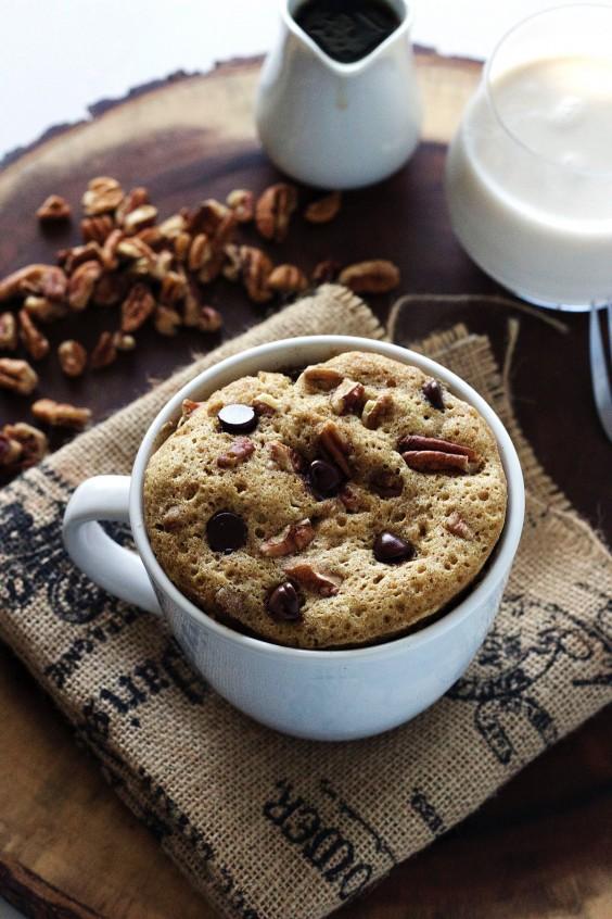 chocolate chip pecan mug cake