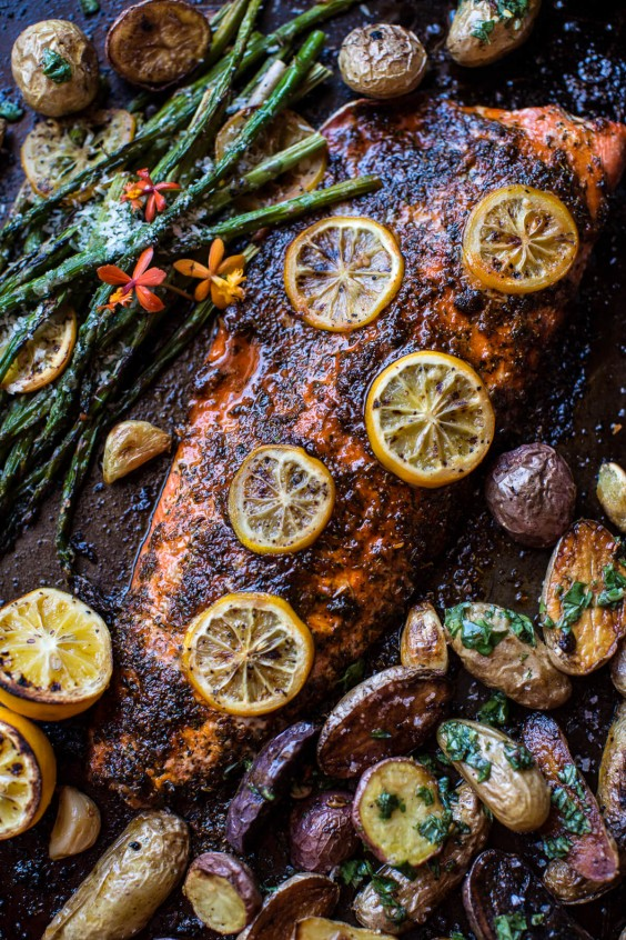 One Pot Meals: Lemon Roasted Salmon, Potatoes, and Asparagus